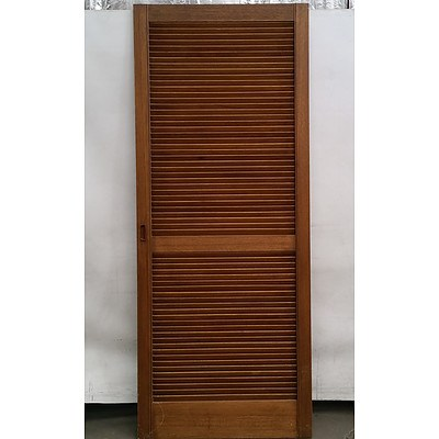 Three Wooden Louver Doors and a Hat Stand/ Coat Rack
