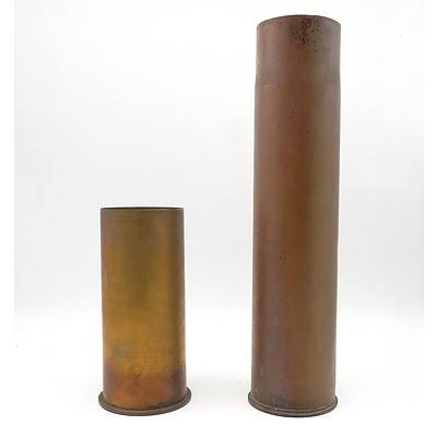 Two World War One Brass Artillery Shell Cases