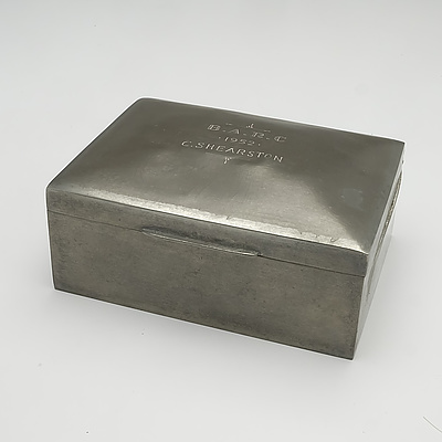 English Liberty and Co. Pewter Cigarette Box with Inscription 'B.A.R.C - 1952 - C.SHEARSTON'