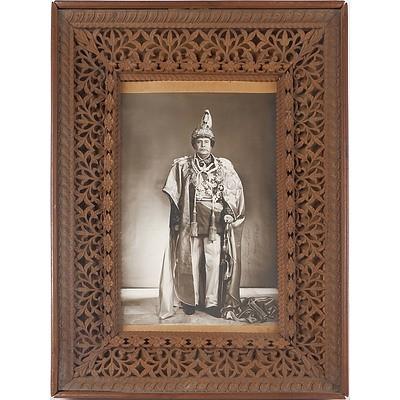 Padma Shumsher Jang Bahadur Rana, Prime Minister of Nepal, in Intricately Carved and Pierced Sandalwood Frame, Including Ephemera