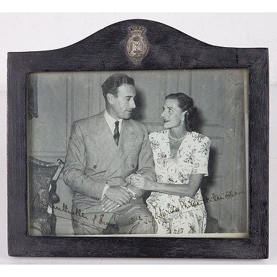 Crested Signed Engagement Photo of Louis Mountbatten, 1st Earl Mountbatten of Burma and Countess Edwina Ashley, Ebonized Frame Crested with Mountabatten Arms