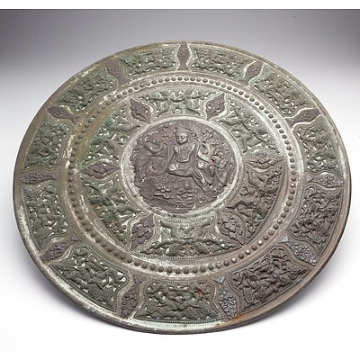 Large Indian Mixed Metal Tray Repousse Decorated with Hinduist Iconograhy, 19th Century