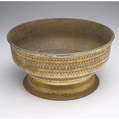 Near Pair of Antique Indo-Persian Cast Brass Footed Bowls with Geometric Border Patterns