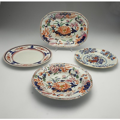 Group of Victorian Hand Painted Serving Ware Including Ironware and Wood & Sons