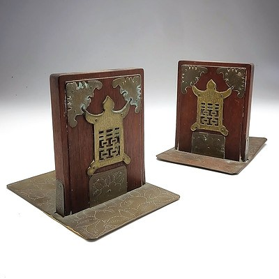 Pair of Antique Brass Mounted Rosewood Bookends
