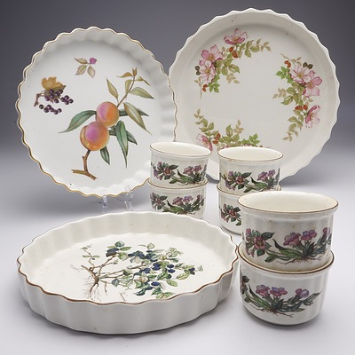 Group of Six Villeroy & Boch Botanical Ramekins and Pie Dishes