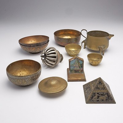 Interesting Group of Indo Persian and Egyptian Brassware Including a Pyramid Inkwell, Early 20th Century