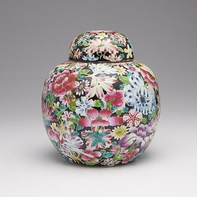 Chinese Famille Rose Millefleur Pattern Ginger Jar Circa 1950