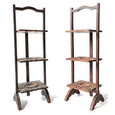 Pair of Anglo-Indian Carved Teak Folding Whatnots or Plant Stands