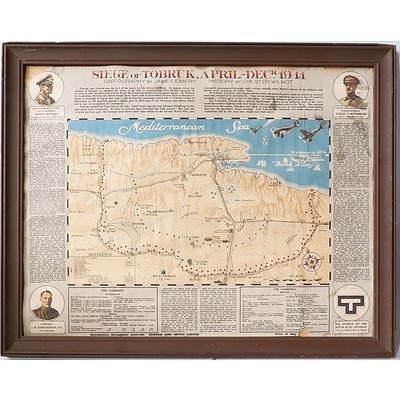 Framed 1941 Siege of Tobruk Map, Cartography by James Emery, History by Chester Wilmot