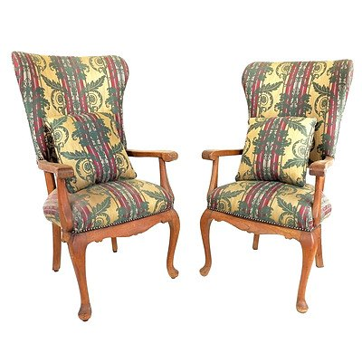 Pair of Anglo-Indian Georgian Style Armchairs Teak Armchairs, Early 20th Century