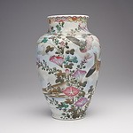 Japanese Kutani Porcelain Vase with Enamel Decoration of Birds and Foliage