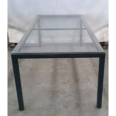 Large Outdoor Glass Topped Table