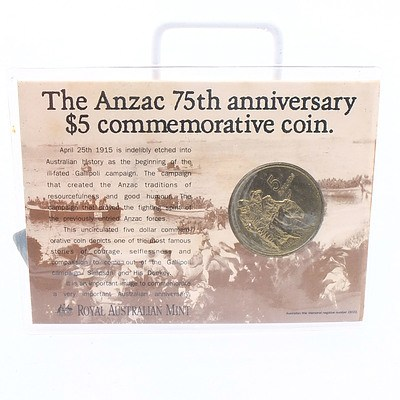 1990 ANZAC 75th Anniversary Five Dollar Commemorative Coin