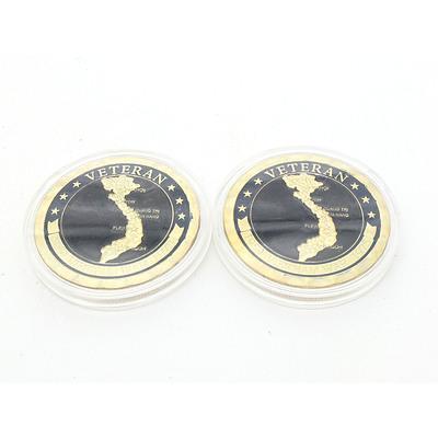 Two 1959-1975 Vietnam War Veteran Challenge Coins