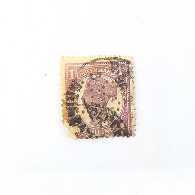 Queen Victoria Queensland One Shilling Stamp