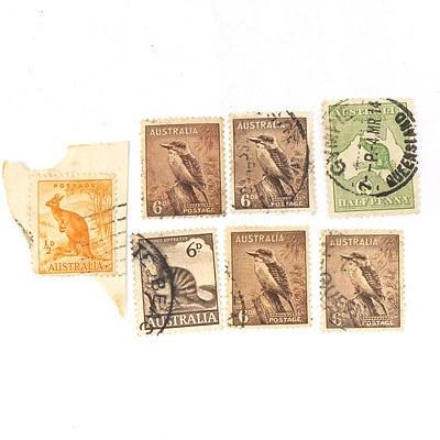 1913 Australia Half Penny, Four Australia Kookaburra 6d Stamps, One Australia Anteater 6d Stamp, and more