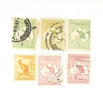 George V Kangaroo Stamps - One Half Pence, Two One Pence and One Three Pence