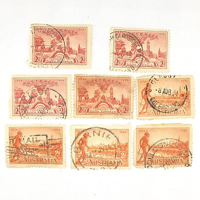 Four 1934 Centenary of Victoria 2 Pence Stamps and Four 1936 Centenary of South Australia 2 Pence Stamps