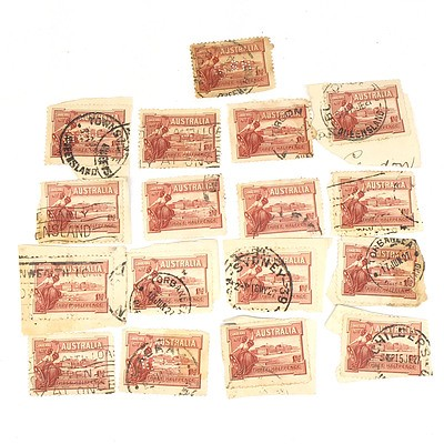 Seventeen 1927 Canberra Three Half Pence Stamps