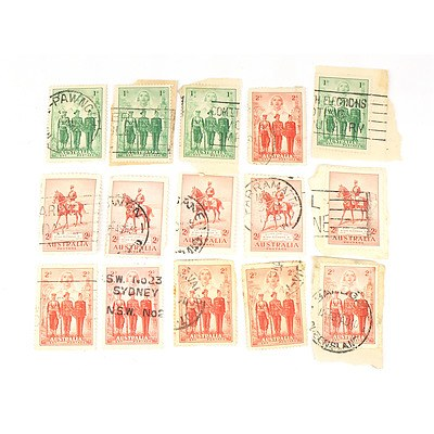 Five 1935 Australia KGV One Penny and Ten 1940 Australia Armed Forces Stamps,
