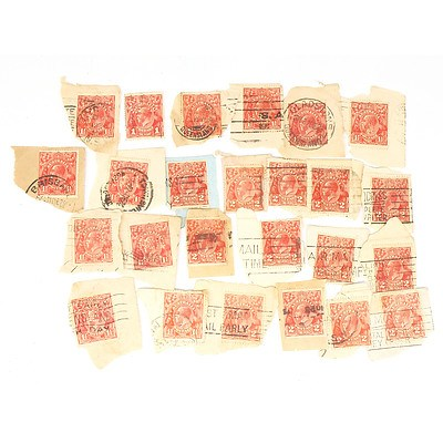 Group of Stamps, Including Australia One Penny Stamps, Australia One and a Half Pence Stamps and more