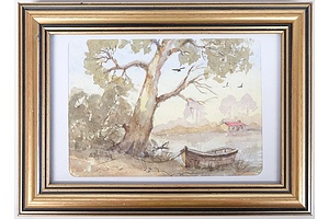 Suzanne Shilling (Ausltralia) Watercolour Riverside Scene, and 8 Framed Prints