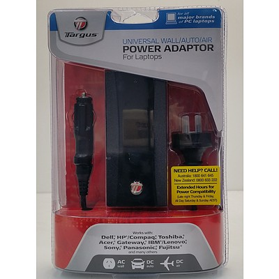 Targus Universal Wall/Auto/Air Power Adapter For Laptops - New