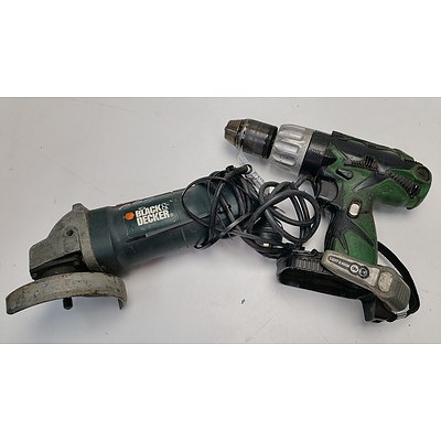Black and Decker Electric Angle Grinder and Hitachi Cordless Drill Skin