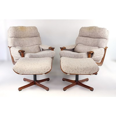 Pair of Tessa T21 Armchairs with Footrests