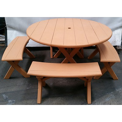 Wooden Outdoor Table and Four Matching Bench Seats