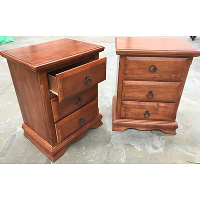 Two Stained Pine Bedside Tables