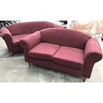 Maroon Velvet Texture 2 1/2 & 2 Seater Lounges