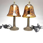 A Pair of Modern Art Deco Style Bedside Lamps, With Tortoise Shell Glass Shades