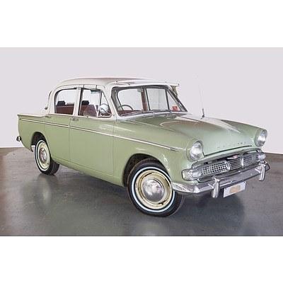 1/1960 Hillman Minx Deluxe IIIb 4d Sedan Green/White 1.5L