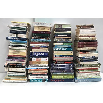 Large Group of Assorted Books Including Philosophy, Aromatherapy, Psychology, Novels, Antique Reference, Gardening Books and More
