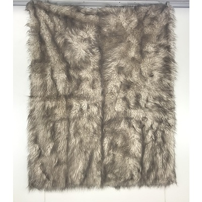 Faux Fur White and Brown Ticking Lined Blanket/Throw Rug
