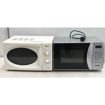 Lot of Sanyo & Tiffany Household Microwave Ovens