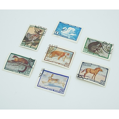 Russian Wild Life Stamps x 7