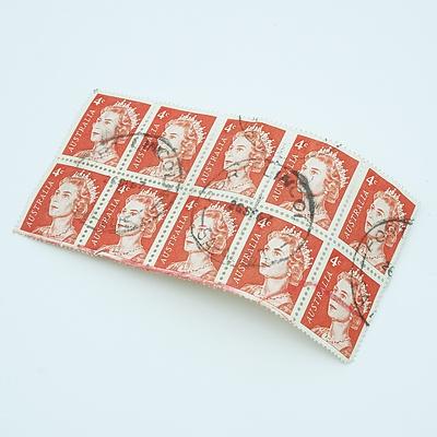 Block of 10 - 1966 Queen Elizabeth II - 4 cent - Red stamps