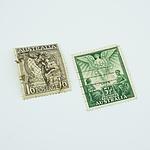 Australia 1'6 - Black Hermes and Globe Postage Stamp And Australia 5½d - Peace and Angel Stamp