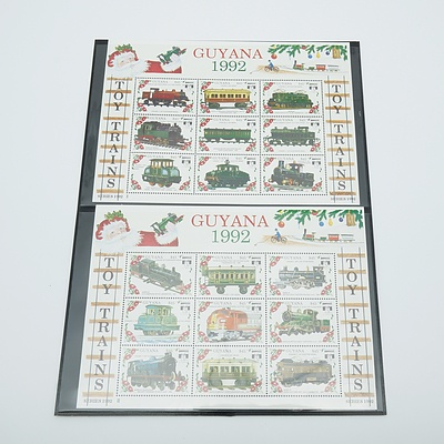 1992 Guyana Christmas Toy Trains Stamps Imperforate - 1KB MNH