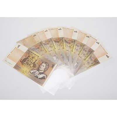 Eight Australian One Dollar Banknotes, Knight/Stone and Johnston/Stone