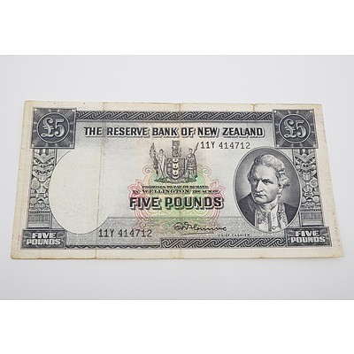 1956 New Zealand Five Pound Banknote