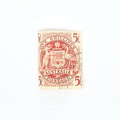 Arms of Australia Five Shillings Stamp