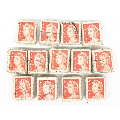 Thirteen Bundles of 1966 Australia Queen Elizabeth II four Cent Stamps