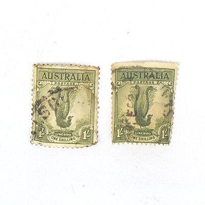 Two 1932 Australia Lyrebird One Shilling Stamp