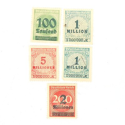 1923 Germany One Million, Five Million, Two Million and One Hundred Million Stamps