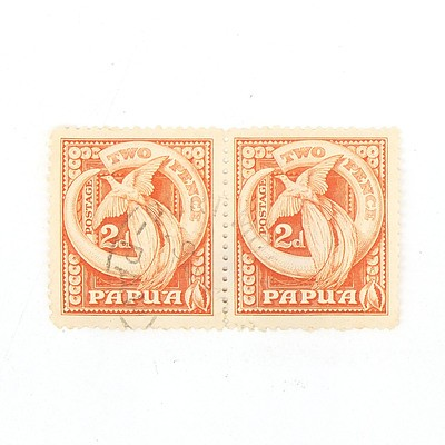 Two Papua Two Pence Stamps