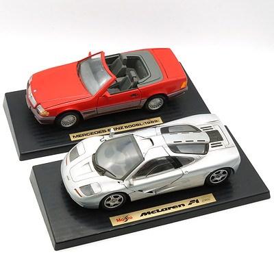 Maisto 1:18 Mclaren F1 1993 and a 1:18 Mercedes Benz 500sl 1989